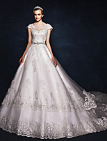 Ball Gown Wedding Dress - Ivory Court Train V-neck Satin / Tulle