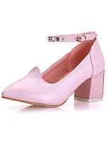 Women's Shoes Leatherette Chunky Heel Heels Heels Office & Career / Party & Evening / Casual Blue / Pink / White