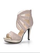 Women's Shoes Leatherette Stiletto Heel Heels / Peep Toe / Open Toe Sandals Wedding / Party & Evening / Casual Black