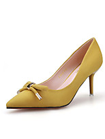 Damenschuhe-High Heels-Kleid-Wildleder-Stöckelabsatz-Absätze / Spitzschuh / Geschlossene Zehe-Schwarz / Gelb / Grün / Rosa / Grau