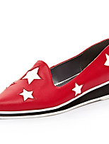 Women's Shoes Cowhide Low Heel Pointed Toe Flats Casual Black / Red
