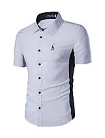 Men's Short Sleeve Polo,Cotton / Polyester Casual Color Block