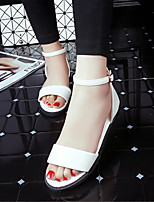 Women's Shoes Leatherette Flat Heel Comfort / Open Toe Sandals Dress / Casual Black / White