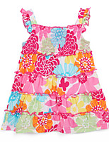 Girl's Multi-color Dress,Ruffle Cotton Summer