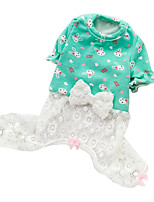Cat / Dog Clothes/Jumpsuit Green / Pink Spring/Fall Bowknot / Cartoon Fashion