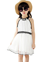Girl's White Dress,Striped Cotton / Polyester Summer