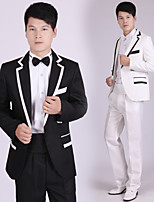 Suits Tailored Fit Notch Single Breasted One-button Polyester Stripes 4 Pieces Black / White