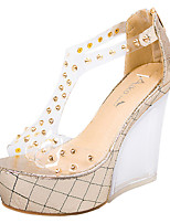 Women's Shoes Rubber Wedge Heel Heels / Peep Toe Sandals Dress / Casual Silver / Gold
