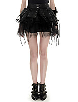 Q-284 Bandage Two-pieces Punk Pettiskirt Spiky Dress Black Sexy Prom Dress