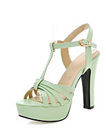 Women's Shoes Leatherette Chunky Heel Heels Sandals Casual Black / Green / Pink / Beige