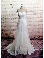 Sheath/Column Wedding Dress - White Chapel Train Strapless Lace / Tulle
