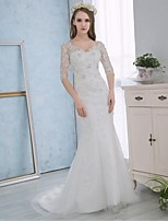 Trumpet/Mermaid Wedding Dress - White Court Train V-neck Lace / Satin