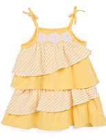 Girl's Yellow Dress,Stripes Cotton Summer