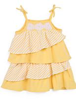 Girl's Yellow Dress,Stripes Cotton Summer
