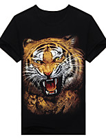 Men's Short Sleeve T-Shirt,Cotton Casual / Work / Formal / Sport Print 3D tiger t-shirt t-shirt fashion clothes.