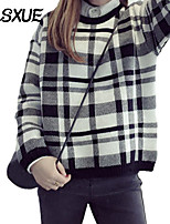 DLSXUE Women's Plaid Pink / Black / Gray Pullover , Vintage / Casual / Day Long Sleeve