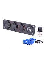 Voltmeter Cigarette Lighter Socket Plug USB Charger Adapter aluminum Panel RV Car Boat