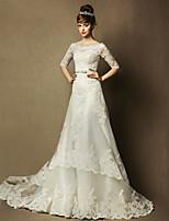 A-line Wedding Dress - Ivory Court Train Bateau Tulle