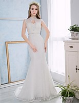 Trumpet/Mermaid Wedding Dress - White Court Train High Neck Lace / Satin