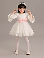 A-line Short/Mini Flower Girl Dress - Lace / Tulle 3/4 Length Sleeve