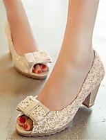 Women's Shoes / Fabric Chunky Heel Heels / Peep Toe Sandals Office & Career / Dress / Casual Black / Beige