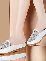 Women's Shoes Leatherette Low Heel Comfort Loafers Office & Career / Dress / Casual White / Silver