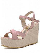 Women's Shoes Leatherette Wedge Heel Peep Toe Sandals Wedding / Office & Career / Party & Evening Pink / Purple / White