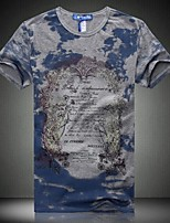 Men's Casual Slim Letters Printed T-Shirt , Cotton / Polyester Casual / Plus Sizes Print