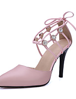Women's Shoes Cowhide / Leather Stiletto Heel Heels / Ankle Strap / Pointed Toe Heels Wedding / Office & Career
