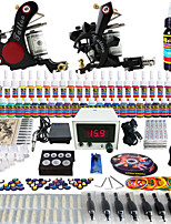 Solong Tattoo Complete Tattoo Kit 2 Pro Machine Guns 54 Inks Power Supply Foot Pedal Needles Grips Tips TK225