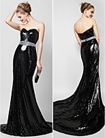 TS Couture® Formal Evening Dress - Black Trumpet/Mermaid Sweetheart Court Train Sequined