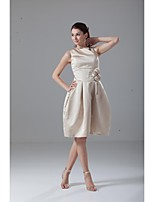 Lanting Knee-length Satin Bridesmaid Dress - Champagne Sheath/Column Off-the-shoulder