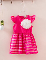 Girl's Striped Floral Dress Summer Sleeveless