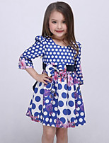 Girl's Blue Dress Rayon Fall / Spring