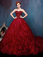 Formal Evening Dress - Burgundy / Silver Ball Gown Sweetheart Chapel Train Lace / Tulle / Charmeuse