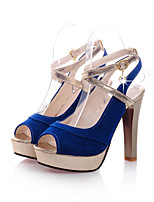 Women's Shoes Fleece Stiletto Heel Heels / Peep Toe Sandals Wedding / Office & Career / Party & Evening /  Blue / Red