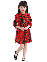 Girl's Cotton Spring / Fall Falbala Neckline Time Black Ops Long Sleeve  Dress