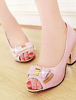 Women's Shoes LHeel Heels / Peep Toe Sandals / Heels Outdoor / Dress / Casual Pink / Silver / Gold