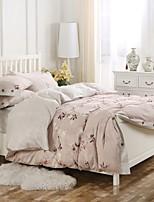 eenvoudige weelde 100% katoen hout knop bloemen bedrukte koning koningin licht roze dekbedovertrek set