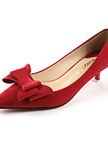 Calçados Femininos-Saltos-Saltos / Bico Fino / Bico Fechado-Salto Baixo-Preto / Vermelho-Camurça-Social