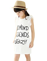 Girl's White Dress,Print Cotton Summer
