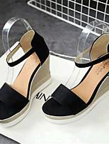Women's Shoes Fleece Wedge Heel Wedges Sandals Casual Black / Green / Red / Gray