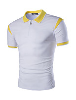 Men's Fashion Color Block Zipper Turn Down Collar Slim Fit Short-Sleeve Polos, Cotton/Polyester