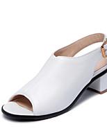 Women's Shoes  Chunky Heel Heels / Peep Toe / Comfort Sandals Outdoor / Office & Career Black / White