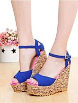 Women's Shoes Fleece Wedge Heel Wedges Sandals Outdoor / Casual Black / Blue / Red