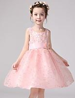 A-line Knee-length Flower Girl Dress - Satin / Polyester Sleeveless