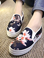 Women's Shoes Canvas Platform Comfort Loafers Outdoor / Casual Black / White