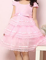 Girl's Pink / White Dress,Ruffle Cotton Summer / Spring