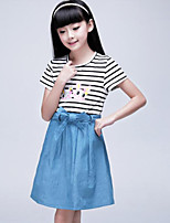 Girl's Blue Jeans Cotton Summer