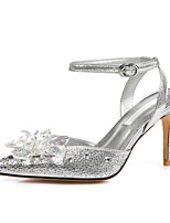 Women's Shoes Glitter Stiletto Heel Heels / Pointed Toe Sandals Party & Evening / Dress / Casual Silver(Genuine leather)